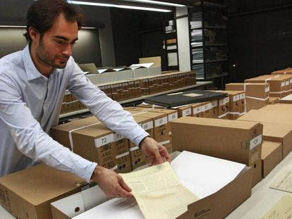 Documentos retornados de Salamanca en diciembre de 2014, en el Arxiu Nacional de Catalunya.