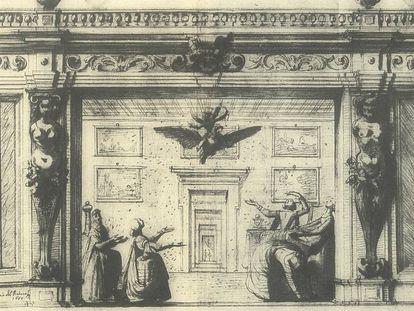 Lámina dibujada por Baccio del Bianco que representa el gabinete de Dánae, con lluvia de oro y descenso de Júpiter en un águila, en el manuscrito 'Fortunas de Andromeda y Perseo', de la Houghton Library, Cambridge (Massachusetts)