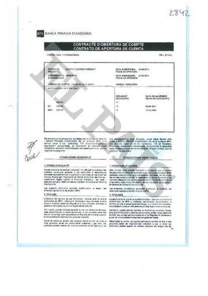 Contrato de apertura de una cuenta cifrada en la BPA vinculada a los padres del exministro de Panamá Demetrio Papadimitriu.