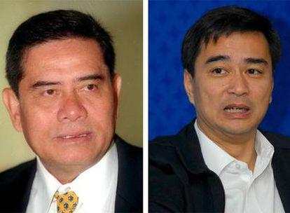 Los dos candidatos a primer ministro de Tailandia, Pracha Promnok, el líder del partido Puea Pandin, y Abhisit Vejjajiva, líder del Partido Demócrata.
