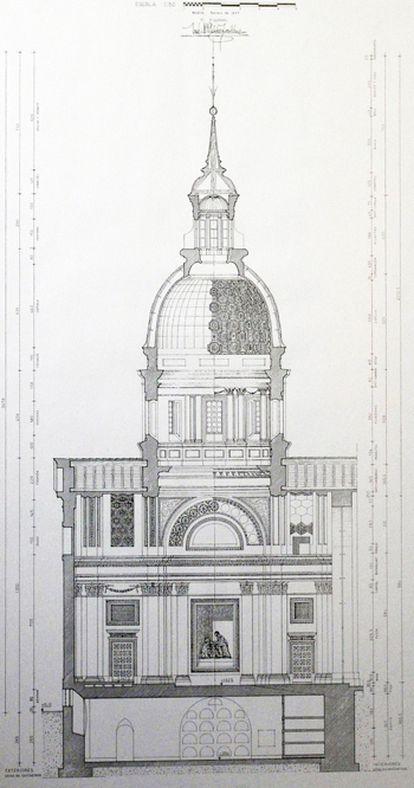 Boceto del proyecto de iglesia de San Sebastián.