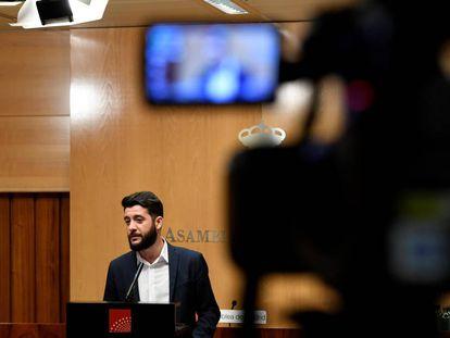 César Zafra, portavoz de Ciudadanos en la Asamblea de Madrid, este martes.