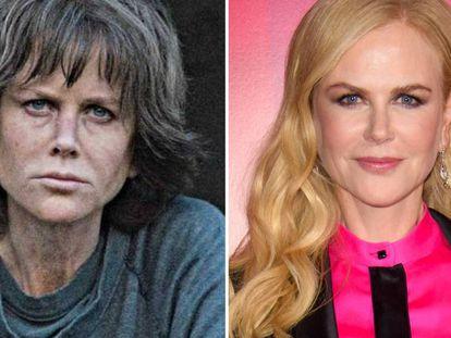 Nicole Kidman, en su transformación para la cinta 'Destroyer' y en el estreno de la película en un festival de cine de Londres, el 14 de octubre.