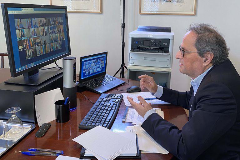 Quim Torra,en la videoconferencia de presidentes autonómicos en el mes de abril.