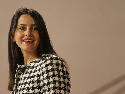 La presidenta de Ciudadanos, Inés Arrimadas, durante una rueda de prensa, el 8 de septiembre de 2021, en Toledo..