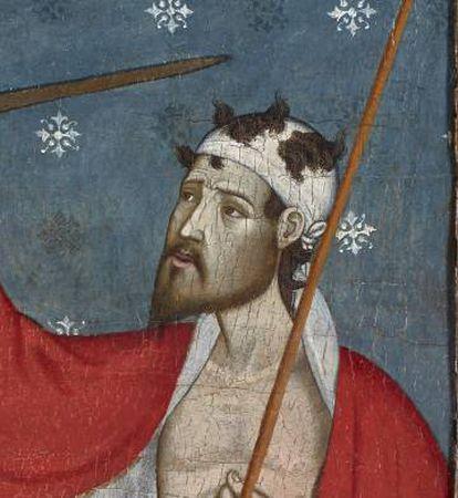 Detalle de la cabeza del mendigo de la obra inédita 'San Martín y el mendigo' atribuida a Jaume y Pere Serra (finales del siglo XIV).