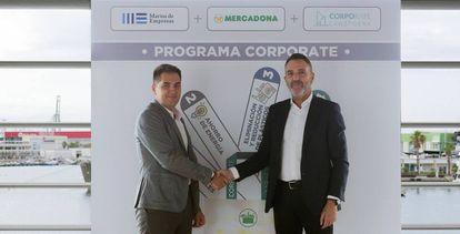 Representantes de Lanzadera y Mercadona sellan en La Marina el acuerdo de colaboración sobre sostenibilidad.