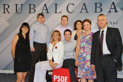 Los asesores de Obama, junto a Elena Valenciano (de blanco) y Jesús Caldera (a la derecha).