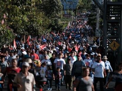 Manifestación de simpatizantes sandinistas en Managua en contra del coronavirus.