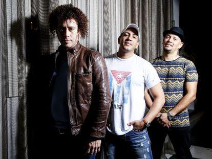 Hiran Riverí 'Ruzzo', Vladimir Núñez y Roemer Pinatel, miembros del grupo Cuban Beats All Stars.