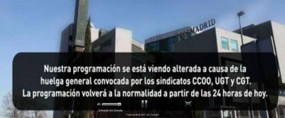 Emisión de Telemadrid, hoy: una foto y un mensaje de huelga.