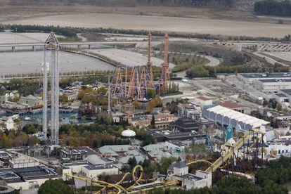 Vista aérea del parque Warner, en San Martín de la Vega.