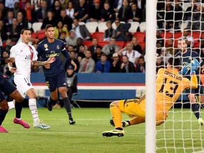 Di María bate a Courtois para abrir el marcador. En vídeo, rueda de prensa de Zidane.