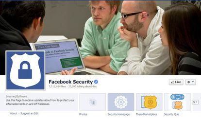 Página para avisar de error en Facebook.