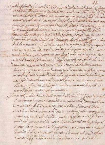 Texto de la abjuración que Galileo pronunció en el convento dominicano de Santa Maria Sopra Minerva el 22 de junio de 1633.