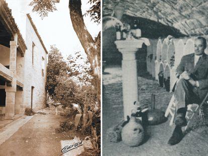 A la izquierda, vista exterior del Palacio de los Medinillas, en Úbeda, en los años setenta. A la derecha, Francis Guth selecciona un vino en la bodega. |