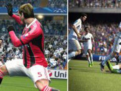 De izquierda a derecha, Cristiano Ronaldo recreado para PES y Messi en el juego FIFA.