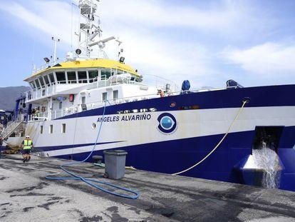 Buque oceanográfico 'Ángeles Alvariño', con su característica visera amarilla.