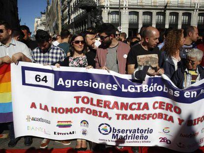 Protesta en Madrid contra las agresiones homófobas, en una imagen de archivo.