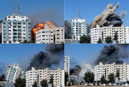 Torre sede de AP y Al Jazeera, derribada por los aviones israelíes.