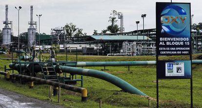 Vista de la planta industrial de la compañía estadounidense OXY en Lago Agrio, en la Amazonía ecuatoriana, en mayo de 2006.