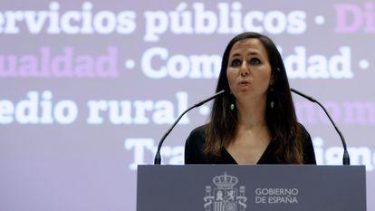 La nueva ministra de Derechos Sociales y Agenda 2030, Ione Belarra, el pasado 1 de abril.