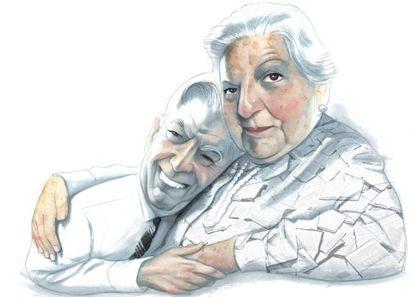 Mario Vargas Llosa y Carmen Balcells, en un dibujo de Fernando Vicente de 2010.