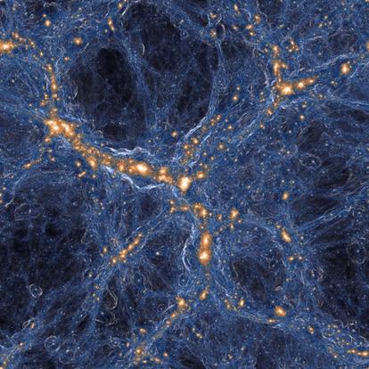 Simulación de la colaboración TNG que muestra 3.000 años luz de la red cósmica actual, donde las galaxias (color oro) han expulsado el gas que se muestra en blanco.