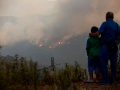 Un hombre y su hijo observan el incendio forestal declarado en la sierra Bermeja (Málaga) que ha obligado a desalojar a medio millar de personas. / GARCÍA-SANTOS