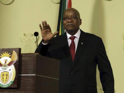 El presidente de Sudáfrica, Jacob Zuma, este miércoles en la rueda de prensa en la que ha anunciado su dimisión. En vídeo, declaraciones del presidente Zuma.