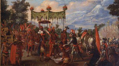 Pintura del siglo XVII sobre el encuentro entre Moctezuma y Cortés.