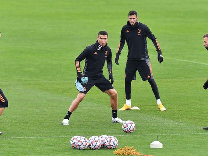 Cristiano durante el último entrenamiento de la Juventus.