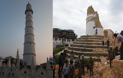 La torre Dharahara antes del terremoto, a la izquierda, y, a la derecha, después