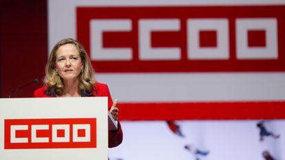 La vicepresidenta económica, Nadia Calviño, durante su intervención en el 12º Congreso Confederal de CCOO, hoy en Madrid.