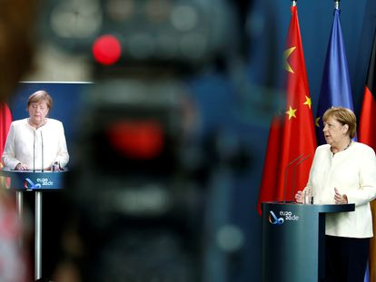 La canciller alemana, Angela Merkel, este lunes tras la reunión entre los líderes de la UE y China.