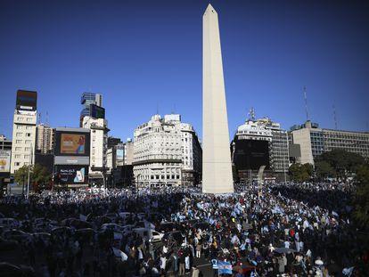 Manifestación contra el Gobierno de Alberto Fernández en el obelisco de Buenos Aires, el 17 de agosto de 2020.