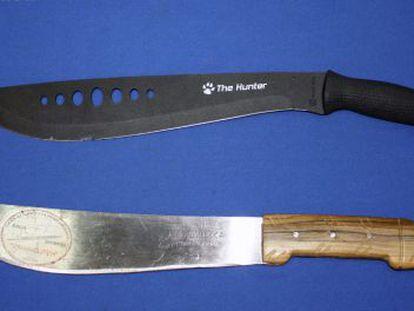 Machetes que usaban los chinaores para robar.