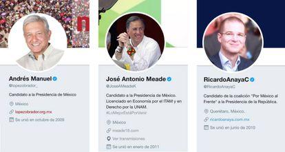 Los tres candidatos a la presidencia de México que lideran las encuestas