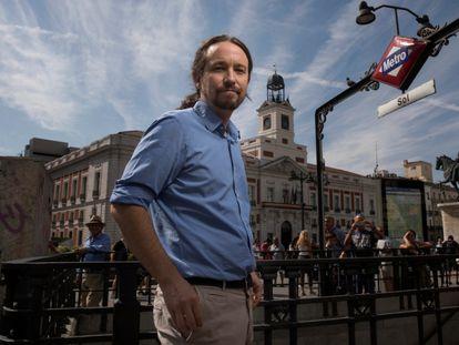 El vicepresidente segundo y secretario general de Podemos, Pablo Iglesias, en la Puerta del Sol, en Madrid, en septiembre de 2018.