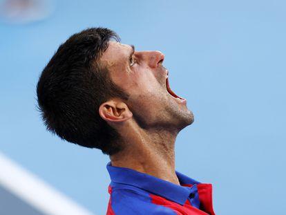 Novak Djokovic durante el partido por el bronce ante Pablo Carreño.