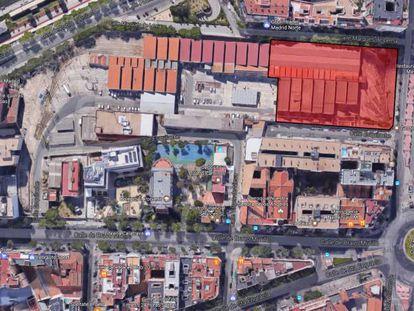 En rojo, el área propuesta para instalar un museo del metro en Cuatro Caminos