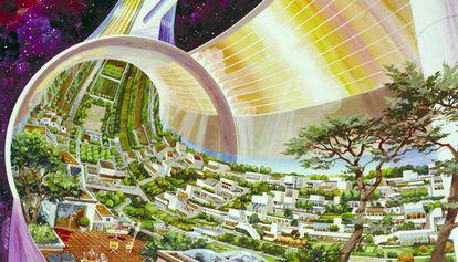 Dibujo de una colonia fuera de la tierra por Rick Guidice titulado 'Torus Wheel Settlement Interior', creado en 1975 para la NASA Ames Research Center.