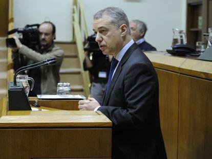 El lehendakari, Iñigo Urkullu, el pasado 22 de febrero en el Parlamento Vasco.