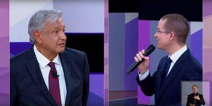 López Obrador y Anaya en un momento del debate.
