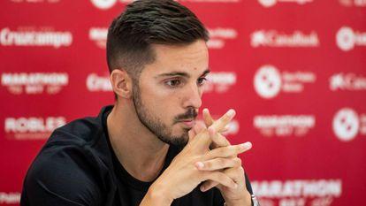 Pablo Sarabia, durante su rueda de prensa de despedida del Sevilla.