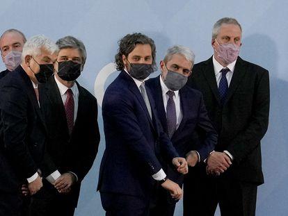 Los nuevos ministros del Gabinete de Alberto Fernández, durante su juramentación en la Casa Rosada, el 20 de septiembre de 2021.