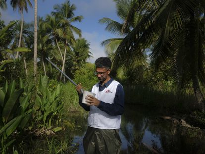 Melfran Herrera, biólogo de MSF, busca larvas de mosquitos Anopheles, en un pantano del estado Sucre, al noreste de Venezuela.