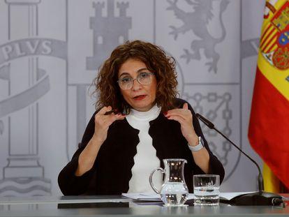 La ministra de Hacienda y portavoz, María Jesús Montero, este martes durante la rueda de prensa posterior al Consejo de Ministros.
