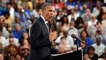 Barack Obama durante su discurso sobre la situación económica en Cleveland.