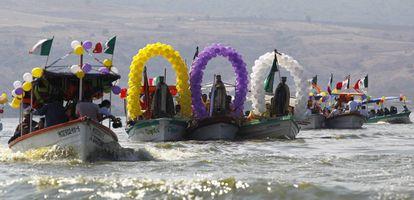Celebración de Reyes Magos realizada en la localidad de Cajititlán, Jalisco (México)